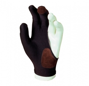 Billiard Cue Glove Laperti - 3-finger, black, with leather, L
